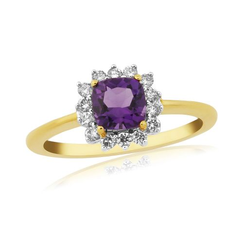 Amethyst And Diamond 9 Carat Yellow Gold Ring Cushioned Shape
